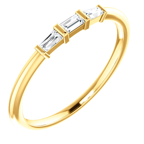 14k Yellow Gold 1/6 ct Diamond Three-Stone Baguette Stackable Ring
