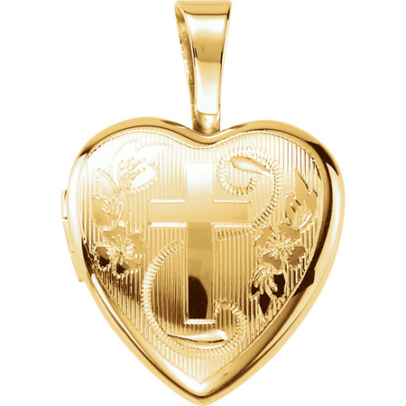 Gold-plated Sterling Silver 1/2in Cross Heart Locket