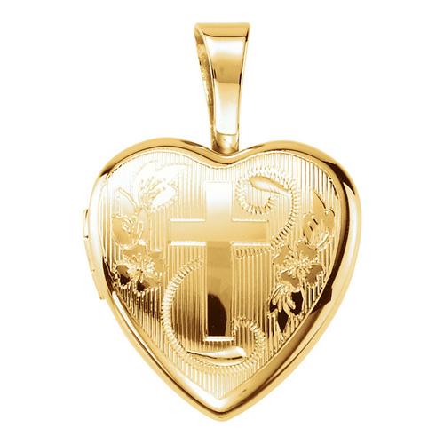 Gold-plated Sterling Silver 1/2in Cross Heart Locket