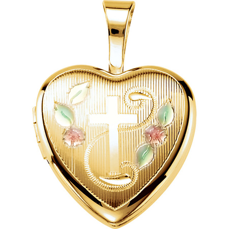 Gold-plated Sterling Silver 1/2in Fancy Cross Heart Locket