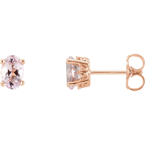 14kt Rose Gold 1/2 ct Oval Morganite Stud Earrings