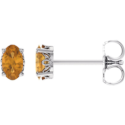 14kt White Gold 2/5 ct Oval Citrine Stud Earrings