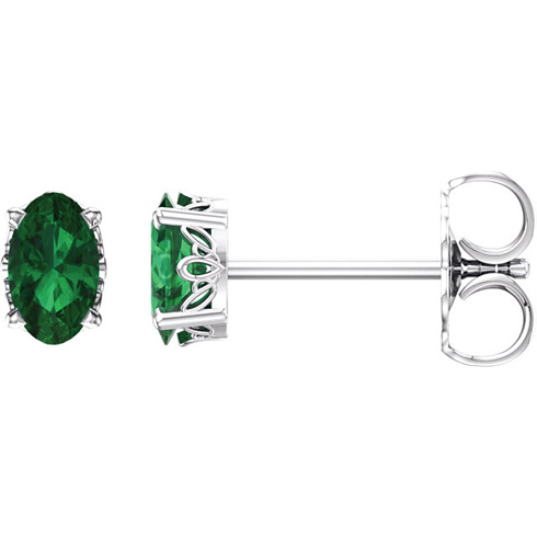 14kt White Gold 3/5 ct Oval Created Emerald Stud Earrings