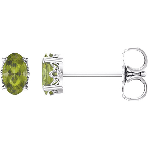 14kt White Gold 1/2 ct Oval Peridot Stud Earrings