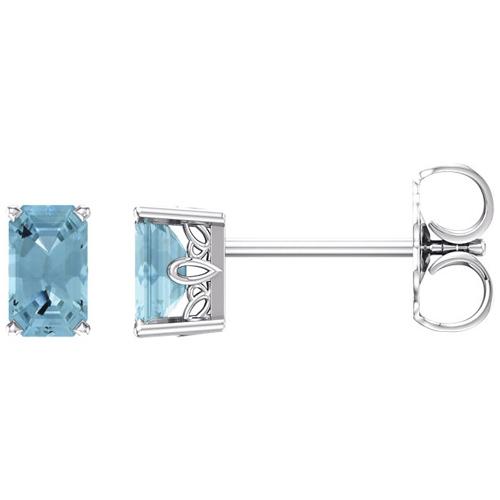 14kt White Gold 1/2 ct Emerald-cut Aquamarine Scroll Stud Earrings