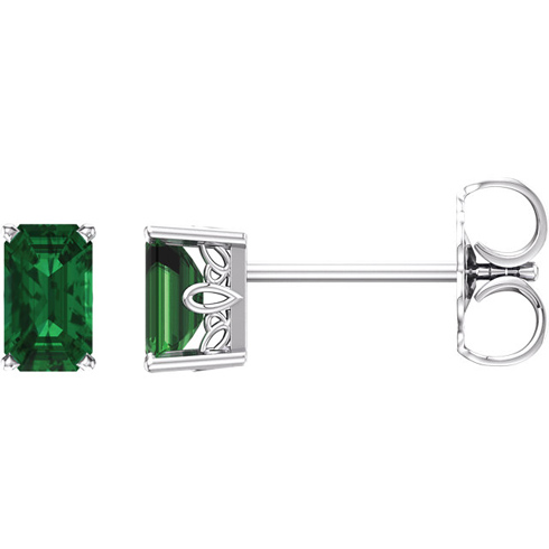 14kt White Gold 1/2 ct Emerald-cut Created Emerald Scroll Stud Earrings