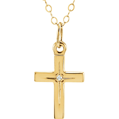 14kt Yellow Gold Child's Diamond Cross 15in Necklace