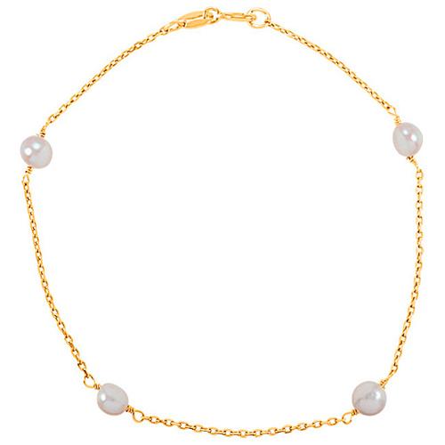 14k Yellow Gold Kids' 4mm Freshwater Cultured Pearl Bracelet 6in