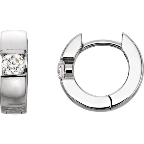 14kt White Gold 1/4 ct tw Diamond Solitaire Hinged Hoop Earrings