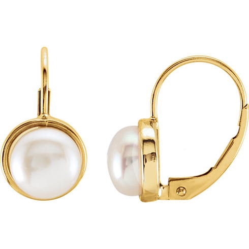 14kt Yelllow Gold 7.5mm Freshwater Cultured Pearl Leverback Earrings