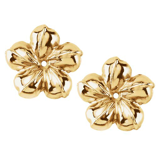 14k Yellow Gold Polished Flower Earring Jackets