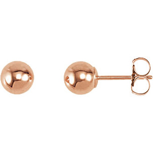 14kt Rose Gold 5mm Ball Earrings