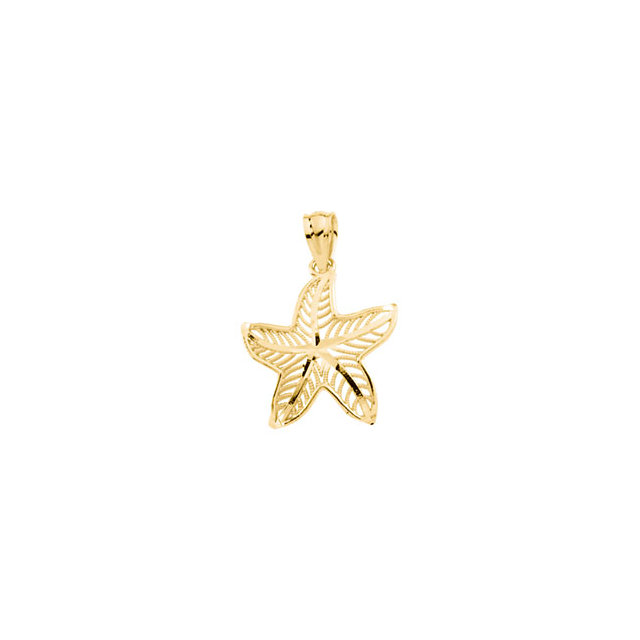 14kt Yellow Gold 5/8in Starfish Pendant