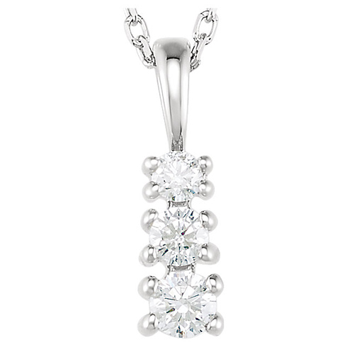 14kt White Gold 1/6 ct Diamond 3-Stone 18in Necklace