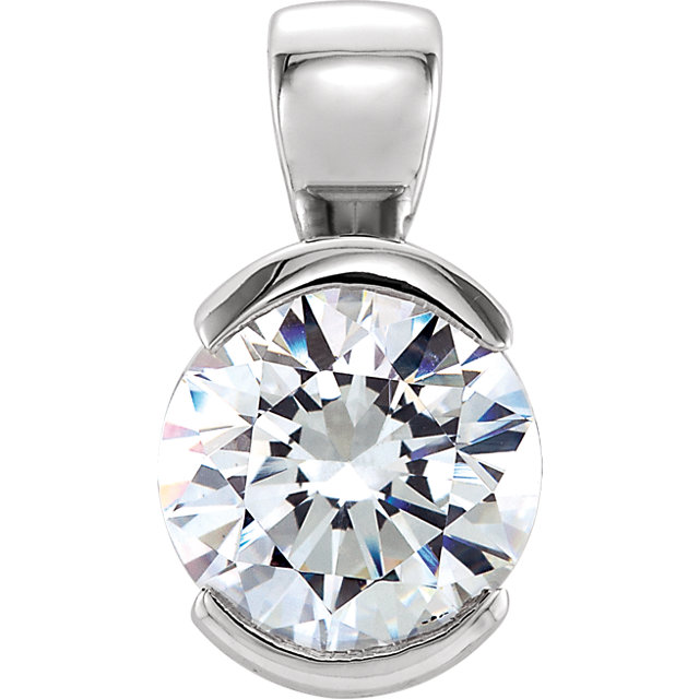 14kt White Gold 3/4 ct Forever One Moissanite Half Bezel Pendant