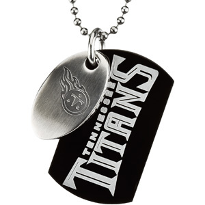 Stainless Steel Tennessee Titans Dog Tag Duo 27in Necklace