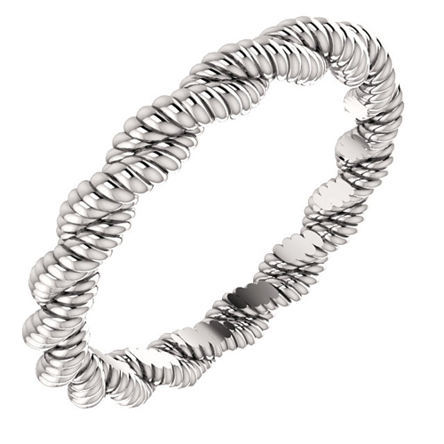 Platinum 3mm Twisted Rope Wedding Band