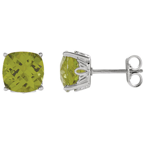 14kt White Gold 2.2 ct Peridot Checkerboard Stud Earrings