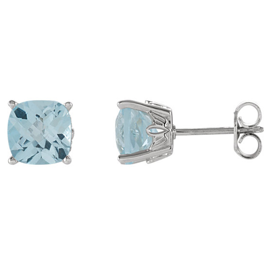 14kt White Gold 2.5 ct Sky Blue Topaz Checkerboard Stud Earrings