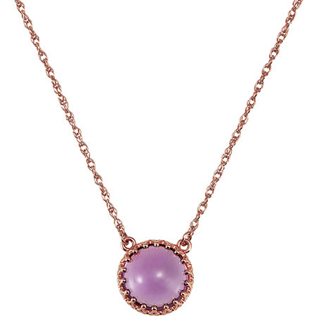 14kt Rose Gold Amethyst Cabochon Crown Necklace