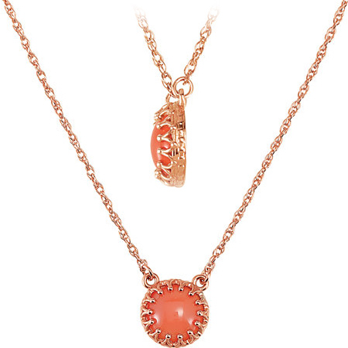 Coral Cabochon Crown Necklace 14kt Rose Gold