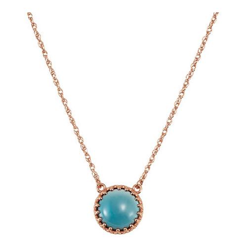 London Blue Topaz Cabochon Crown Necklace 14kt Rose Gold