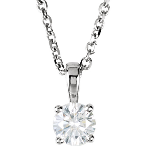 14kt White Gold 1/4 ct Diamond Solitaire 18in Necklace