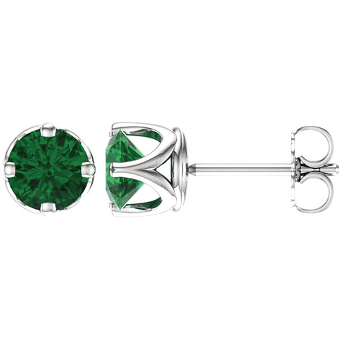 14kt White Gold 1.7 ct Created Emerald Stud Earrings