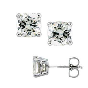 14k White Gold 2.1 ct tw Forever One Moissanite Cushion Earrings