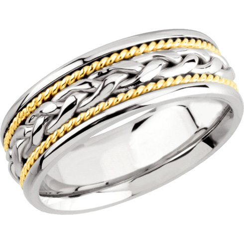 8mm Handwoven Platinum Wedding Band with 18k Gold Rope Accents