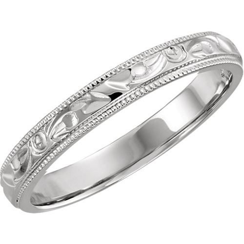 Platinum 3mm Hand Engraved Milgrain Wedding Band