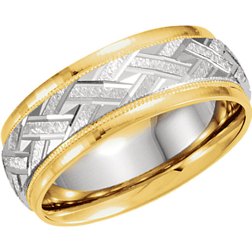 7mm 18k Yellow Gold and Platinum Band