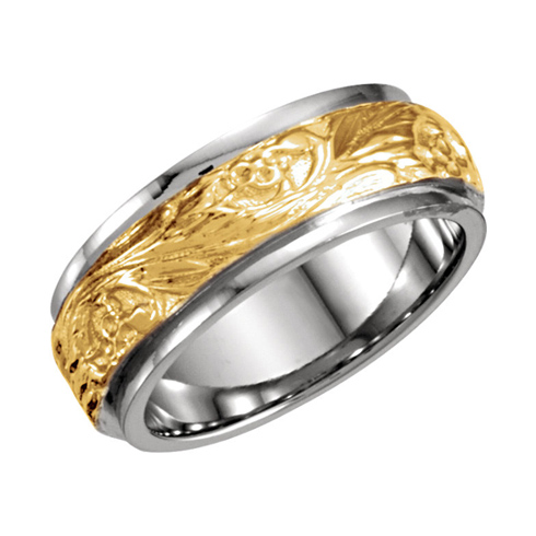 18kt Yellow Gold and Platinum 7mm Hand Engraved Wedding Band
