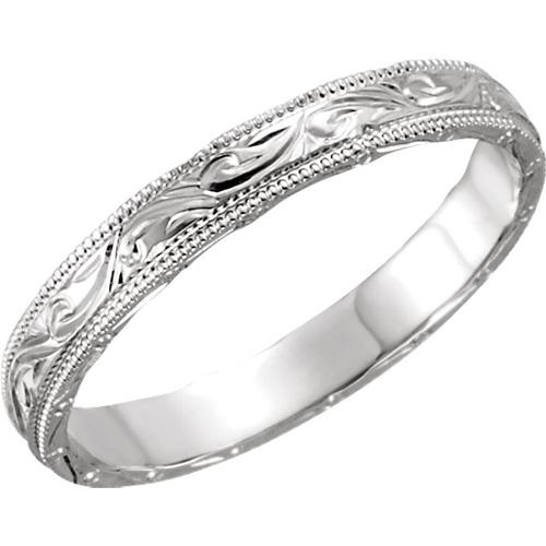 Platinum 3mm Hand Engraved Vine Leaf Wedding Band