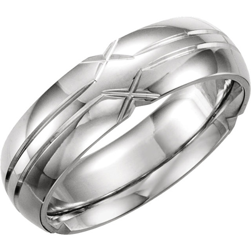Platinum 6mm Comfort Fit Grooved Wedding Band
