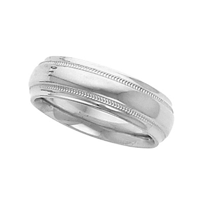 Platinum 6mm Comfort-Fit Milgrain Wedding Band with Ridged Edges