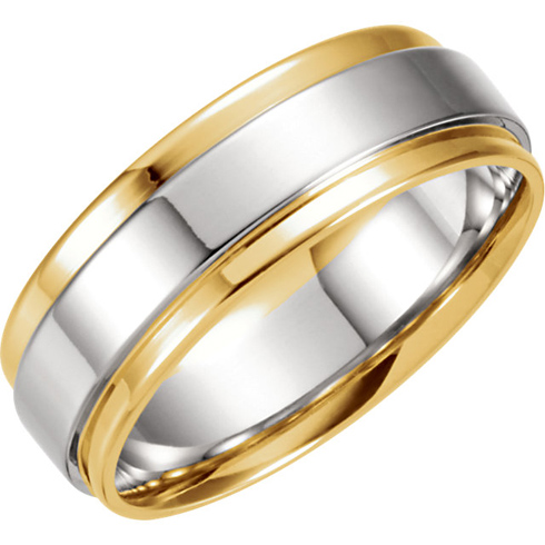 18kt Yellow Gold and Platinum 7.5mm Wedding Band