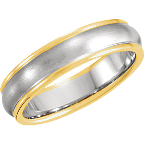18kt Yellow Gold and Platinum 5mm Wedding Band