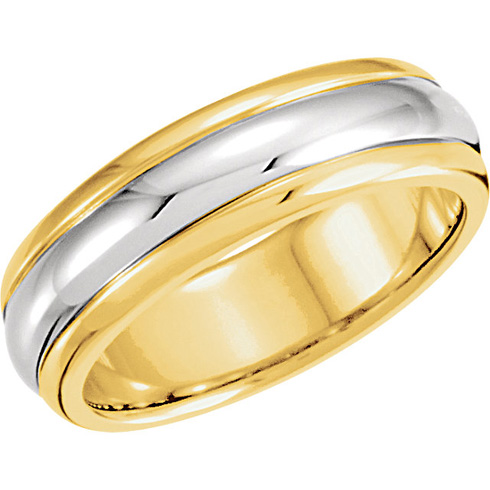 18kt Yellow Gold and Platinum 6mm Wedding Band with Rounded Edges