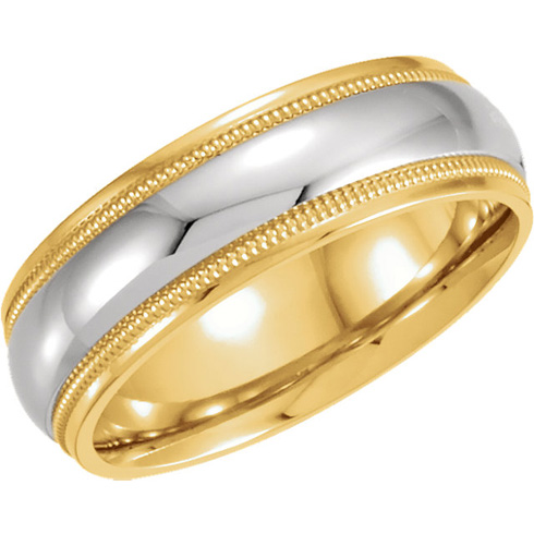 18kt Yellow Gold and Platinum 6mm Milgrain Wedding Band
