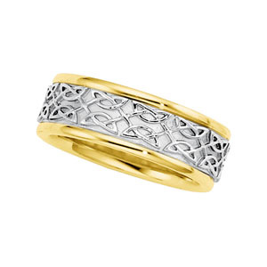 7mm 14kt Gold Celtic-Inspired Wedding Band