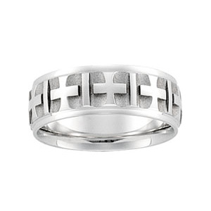 14kt White Gold 7mm Cross Pattern Wedding Band