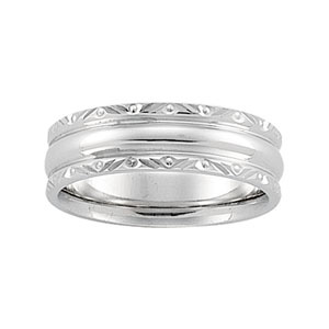 14kt White Gold 6mm Comfort Fit Wedding Band with Decorative Edges