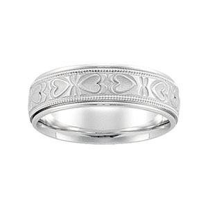 14kt White Gold 6mm Comfort Fit Heart Pattern Band