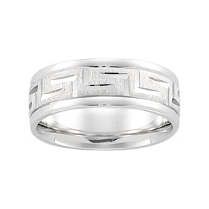 14kt White Gold 7mm Greek Key Wedding Band with Rounded Edges