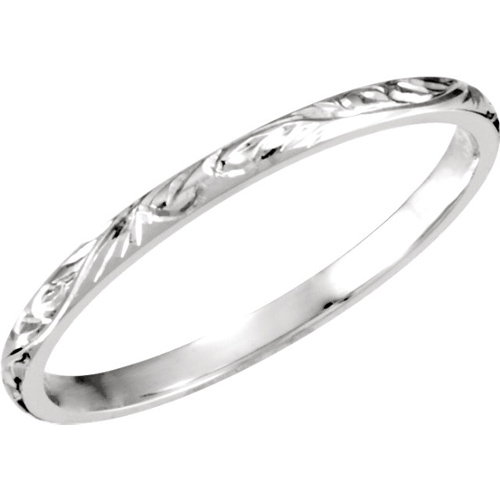 Platinum 2mm Hand Engraved Comfort Fit Wedding Band