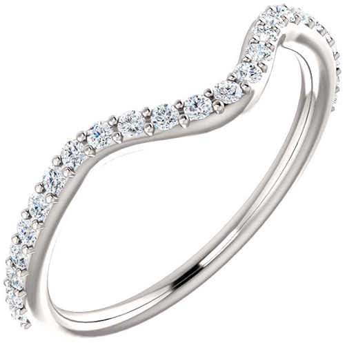 14kt White Gold .25 ct Diamond Contoured Wedding Band G VS