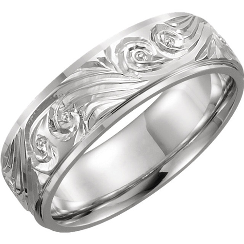 Platinum 6mm Hand Engraved Comfort Fit Wedding Band