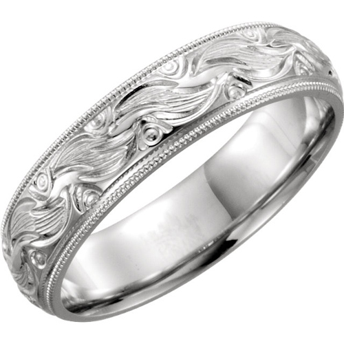 Platinum 6mm Hand Engraved Comfort Fit Wedding Band with Milgrain