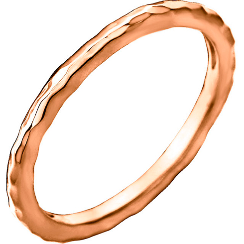 14kt Rose Gold 2mm Hammered Stackable Ring